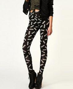 397a1f6fc2119 Black Word Printed Street Leggings Fashion Now, Fashion Pants, Womens  Fashion, Leggings Fashion