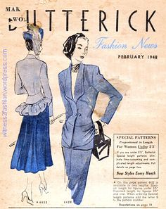 Love the peplum below a yoke on jacket on left. Front cover of Butterick Fashion News, Feb. 1948. The suit on the left, No. 4422, was available in short and average patterns.