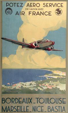 Air France Bordeaux Toulouse Marseille Nice 1935