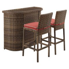 Bradenton 3pc All Weather Wicker Patio Bar Se   Sangria   Crosley