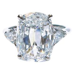 4.04 Carat Cushion Brilliant Diamond Platinum Ring | See more rare vintage Engagement Rings at https://www.1stdibs.com/jewelry/rings/engagement-rings