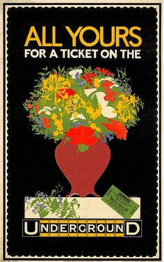 All Yours for a Ticket; by P Cottingham, 1916 Vintage London Underground Poster