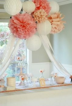 Bridal Shower Basics - Wedding Shower Decoration. http://memorablewedding.blogspot.com/2013/11/bridal-shower-basics.html