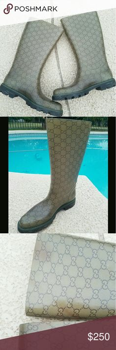 Gucci rain boots In  good used condition authentic gucci rain boots. It has light discoloration on the both sides of the boots not noticeable at all unless you need to find it other than that super excellent condition adidas Gucci Shoes Winter & Rain Boots