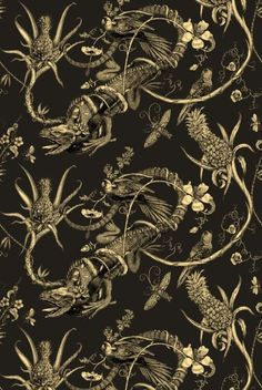 Iguana wallpaper by Timorous Beasties.  This is possibly even better than those flamingos.