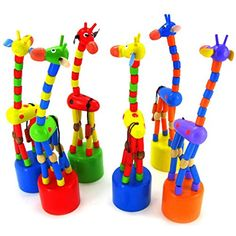 Owill Toy Gift SetsKids Intelligence Toy Dancing Stand Colorful Rocking Giraffe Wooden Toy * You can find more details at