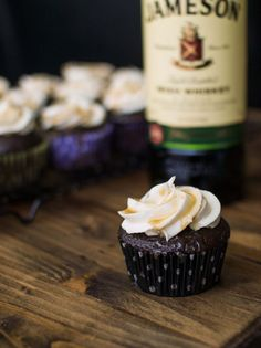 Chocolate Stout Cupcakes with Whiskey Buttercream and Salted Caramel! #StPatricksDay #Dessert