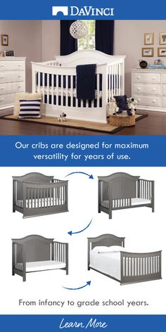 Created to provide safe sleep from infancy through the grade school years, many of our cribs easily converts from crib to toddler bed, daybed and full-size bed. Baby Nursery Decor, Baby Bedroom, Baby Boy Rooms, Baby Boy Nurseries, Baby Cribs, Baby Decor, Nursery Room, Girl Nursery, Nursery Ideas