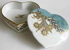 Krabička srdce • ručně, malovaný porcelán