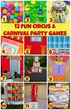 12 Fun Circus and Carnival Party Game Ideas! See more party ideas at CatchMyParty.com!