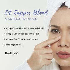 Zit Zapper Blend (Acne Spot Treatment) Treat pimples immediately to prevent them from spreading. Essential Oils Pimples, Essential Oils For Face, Essential Oils For Headaches, Doterra Essential Oils, Young Living Essential Oils, Essential Oil Blends, Yl Oils, Young Living Acne, Tips