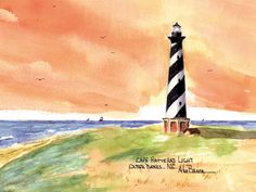 Cape Hattaras Light, Outer Banks Watercolor prints and note cards of over 250 lighthouses all over the USA. Start your collection today. Original paintings by sailor/artist Alfred La Banca, Darien, CT