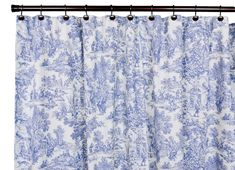 Ellis Curtain Victoria Park Toile Bathroom Shower Curtain--Toile print fabric originated in France in the century and immediately became a popular decorating pattern that still holds true today. The classic country scenes and soft cotton fabric Toile Curtains, Cottage Curtains, Blue Shower Curtains, Toile Bedding, Bedding Sets, Blue Bath, Curtain Styles, White Shower, Shower Curtain Rings