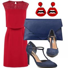 Sei invitata ad un party oppure hai una serata elegante a cui devi partecipare? Ecco un look perfetto per te vediamolo meglio: rosso passione per il vestito reso piccante dagli orecchini glamour, pochette e décolleté in colore blu.
