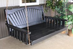 5' Painted black pine porch / patio swing bed - fan back style.  A great, relaxing addition for the porch!  Amish made in the USA