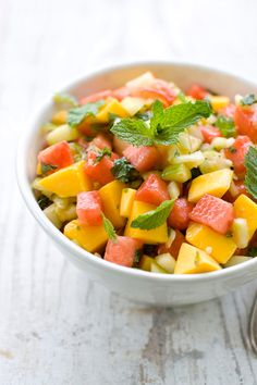 Cucumber, Watermelon, & Mango Salad.  So good.  I made a couple of weeks ago and it was a hit.  Calls for  fish sauce.  Yes, fish sauce.  Trust me, you can NOT taste it.  Bought everything in Publix.  Fish sauce & mirin located in Asian section.  Enjoy!