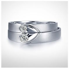 heart band ring | Inexpensive Heart Shape Couples Matching Wedding Band Rings on Silver ...