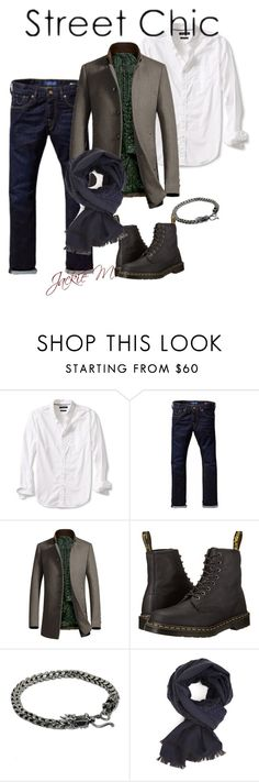 """""""Street Chic"""" by jackie-mallet ❤ liked on Polyvore featuring Banana Republic, Scotch & Soda, Dr. Martens, NOVICA, Diverso, men's fashion and menswear"""