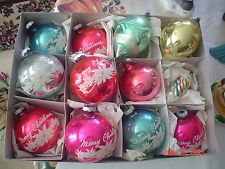 ANTIQUE BOX 12 ASSORTED CHRISTMAS HOLIDAY GLASS TREE ORNAMENTS BULBS SHINY BRITE