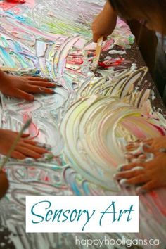 sensory art - with shaving cream and food colouring (happyhooligans)