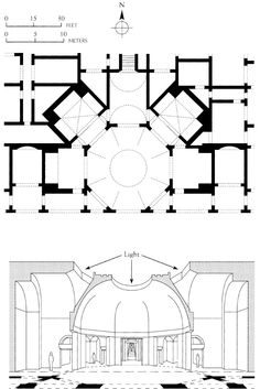 054-AUGUSTUS-(27BC TO 98AD)-TRAJAN: Plan and section of the Octagonal room, of Domus Aurea (Golden house of Nero), Rome. Severus and Celer were two of the architects who were responsible for Domus Aurea, including octagonal room. Their works was a great contribution in the development of Roman architecture.
