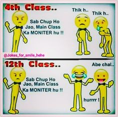 This is exactly what is happening with me since i became monitor.lectures main kam karne ke lie teacher class monitor ko hi bulati hai Latest Funny Jokes, Very Funny Jokes, Crazy Funny Memes, Really Funny Memes, Funny Facts, Kid Jokes, Real Facts, Hilarious, Exams Funny