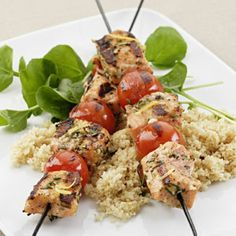 Grilled Rosemary-Salmon Skewers    If you can find (or grow) them, use sturdy rosemary branches, stripped of leaves, as skewers for these Italian kebabs. Oil your grill well to prevent sticking, don't move the kebabs around unnecessarily, and keep a close eye on the fire to avoid flare-ups.