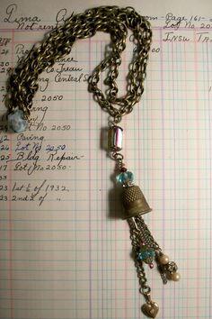 the Hattie necklace repurposed vintage thimble necklace. , via Etsy.