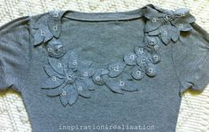 From http://inspirationrealisation.blogspot.com I saw a designer t-shirt blouse like this once and said I could do it myself. This version is much prettier than the one I saw. She has beautiful ideas!