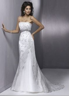 Sheath/Column Strapless Court Train Satin Tulle Wedding Dress With Lace Sash Beading Crystal Brooch Bow(s)
