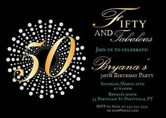 Fifty and fabulous birthday invitations by sassyphotocreations, $15.00