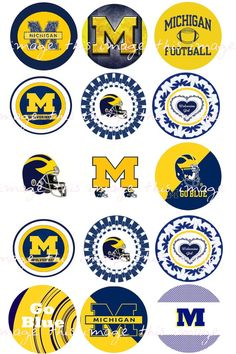 This listing is for a printable University of Michigan inspired bottlecap image sheet that is set to print out as a sheet. U Of M Football, Michigan Wolverines Football, College Football, Colleges In Michigan, University Of Michigan, Punisher Marvel, Ms Marvel, Captain Marvel, Marvel Comics