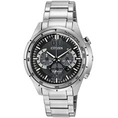 Citizen CA4121-57E Men's HTM Eco-Drive Sport Black Dial Steel Bracelet Chronograph Watch