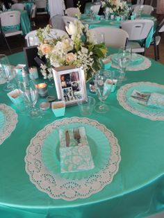 Tiffany Blue Baby Shower Party table! See more party ideas at CatchMyParty.com!