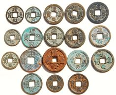 A grouping of 'Shao Xing Yuan Bao/Tong' (紹興元/通寶) 2 cash coin cast from 1131-1162 AD by Emperor Gaozong (高宗) (1127–1163 AD) of the Southern Song (南宋) Dynasty. Southern Song coins are fewer than those of the Northern Song.