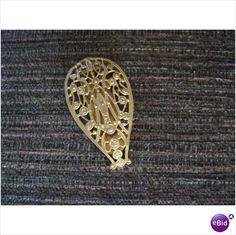 Vintage goldtone filigree dress clip 1.7/8 in height