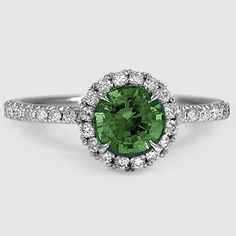 18K White Gold Sapphire Waverly Diamond Ring // Set with a 6mm Round Emerald (From Unique Colored Gemstone Gallery) #BrilliantEarth