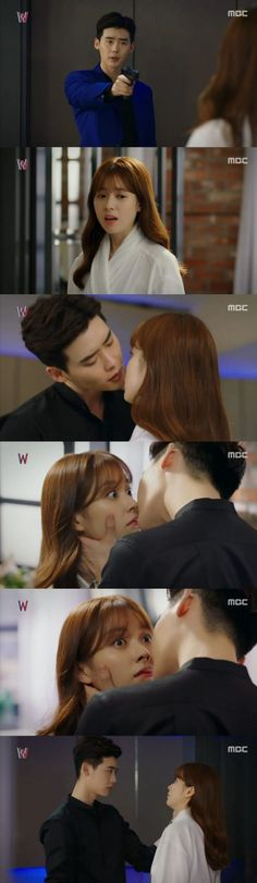 "[Spoiler] 'W' Lee Jong-suk surprise kisses Han Hyo-joo, ""It didn't make you disappear?"" @ HanCinema :: The Korean Movie and Drama Database"