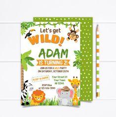 Printable Jungle Birthday Invitation, Wild Birthday Invitation, Safari Birthday Invitation, Safari Animals Party, Safari birthday Party