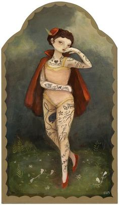 Tattooed Lady: An artwork by The Black Apple aka Emily Martin - Ruthie loves paper dolls! Green Sky, Black Apple, Amazing Paintings, Woman Painting, Large Prints, Vibrant Colors, Illustration Art, Cat Illustrations, My Arts