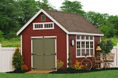 Garden Storage Sheds Collection Barn red garden shed with avocado green door. Sheds UnlimitedBarn red garden shed with avocado green door. Sheds Unlimited Storage Shed Kits, Garden Storage Shed, Outdoor Storage Sheds, Diy Shed, Barn Storage, Diy Storage, Backyard Storage, Garden Sheds For Sale, Outdoor Garden Sheds
