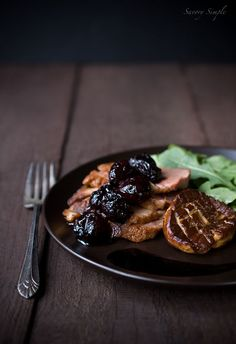 Duck with Seared Foie Gras & Balsamic Cherries - Savory Simple