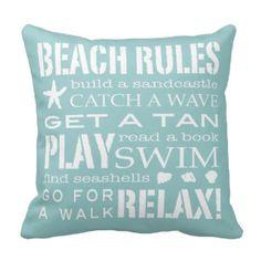 Beach Rules By the Seashore Soft Aqua & White Throw Pillows