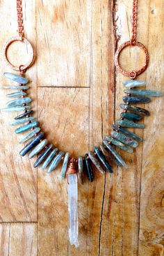 Blue Kyanite Necklace with Clear Quartz Crystal on a Copper Chain