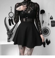 But devilish inside🖤 . Cute Goth Outfits, Gothic Outfits, Cute Casual Outfits, Grunge Outfits, Pretty Outfits, Egirl Fashion, Dark Fashion, Cute Fashion, Fashion Outfits