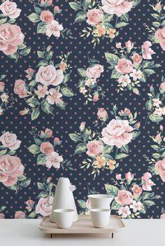 Rose Wallpaper  Removable Wallpaper  Rose by WallfloraShop on Etsy