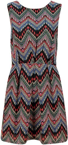 Colourful Aztec Print Pleat Sleeveless Dress