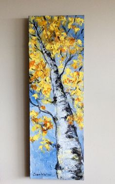 Your place to buy and sell all things handmade - Aspen Tree Abstract Painting Original Painting 36 x 12 - Long Painting, Abstract Tree Painting, Abstract Canvas, Canvas Art, Abstract Trees, Yellow Painting, Cute Paintings, Original Paintings, Canvas Paintings