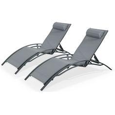 Duo+2+bains+de+soleil+en+Aluminium+et+textilène+lounge+Louisa+transat+Anthracite