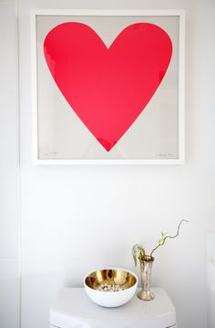 Bright and beautiful! Gorgeous neon pink/red heart print on dove grey paper. If you are thinking about a hit of neon in your home, this is a lovely place to start. Condo Interior Design, Interior Design Services, Furniture Design, Crosses Decor, Heart Print, Main Street, Service Design, Playroom, Neon